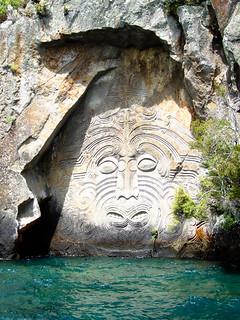 Māori rock carvings at Mine Bay on Lake Taupo.