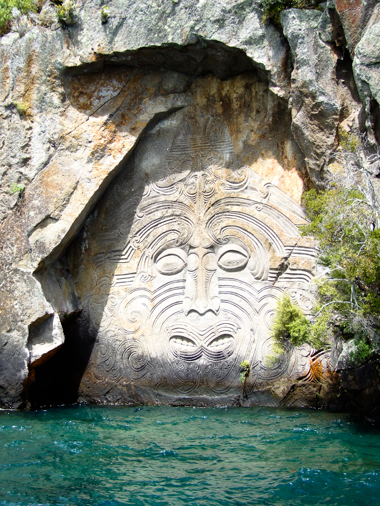 Māori rock carvings at Mine Bay on Lake Taupo.