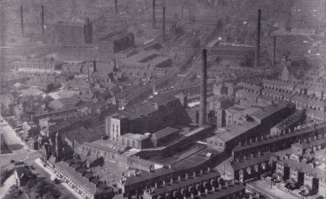 Oldham - a town in Lancashire where cotton is spun; aerial photograph, c1955