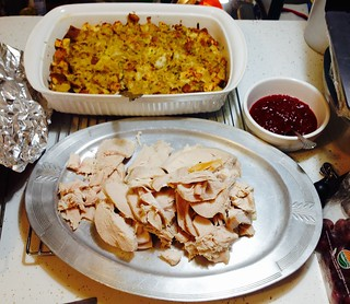 Thanksgiving dinner, 2018, part 1: Note Abby & Jean's Cranberry sauce... awesomely good! IMG_2823