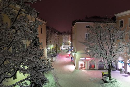 germany bavaria berchtesgadenerland badreichenhall poststrase night winter trees lights people concordians