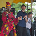 Sat, 20/06/2015 - 2:53pm - The fabulous Angelique Kidjo on the main stage Saturday afternoon, 6/20/15. Photo by Gus Philippas