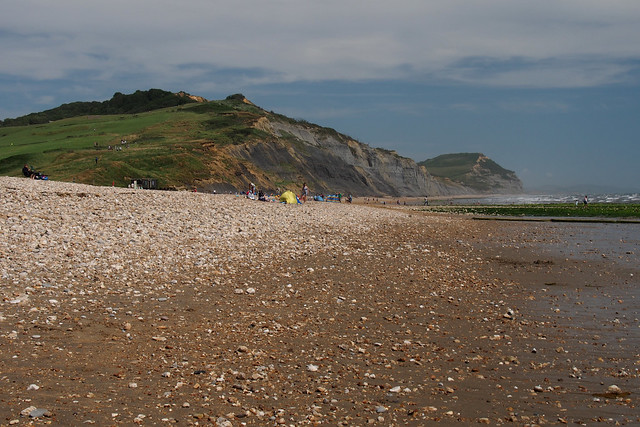 The beach between Lyme Regis and Charmouth