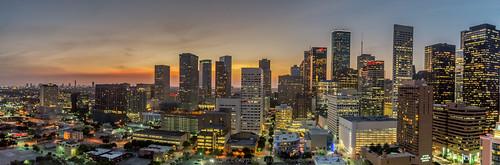 sunset night lights evening downtown cityscape texas houston