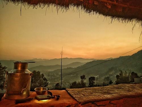 pokhara nepal sunset mountains