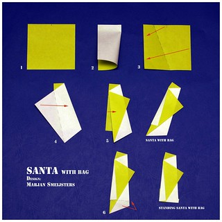 "Invitation to fold ""Santa with bag"" (Marjan Smeijsters)"