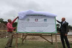 Dr. Figueroa of the Government of Belize and Minister Plenipotentiary Natali of the Government of Italy unveiling at the project site