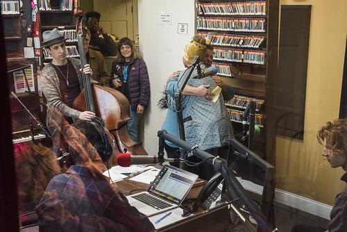 Robin Barnes hugs WWOZ GM Beth Arroyo Utterback at WWOZ's 38th birthday - 12.4.18. Photo by Ryan Hodgson-Rigsbee rhrphoto.com.
