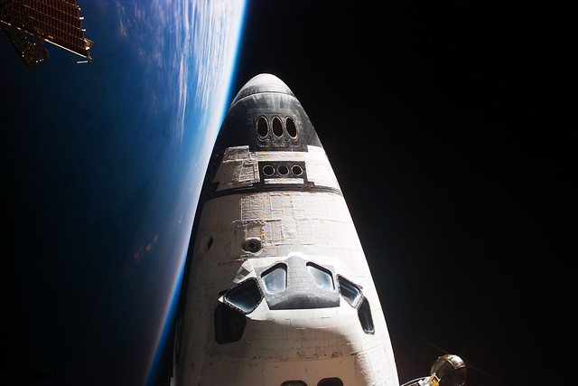 View of orbiter nose and earth limb. Original from NASA. Digitally enhanced by rawpixel.