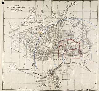 Plan of the City of Halifax, with an overlay of the blast radius of the explosion, Nova Scotia / Plan de la Ville d'Halifax; les zones touchées par l'explosion ont été indiquées (Nouvelle-Écosse)e000000569
