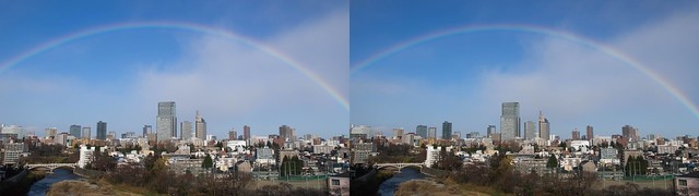 A rainbow over central of Sendai, 4K UHD, stereo cross view
