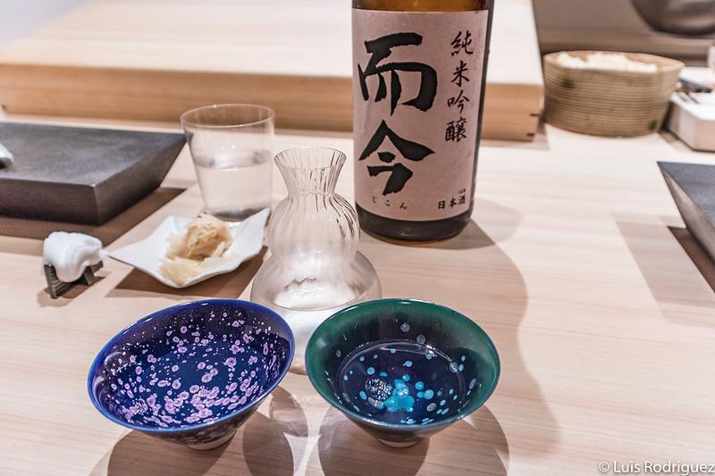 Botellita y cuencos de sake