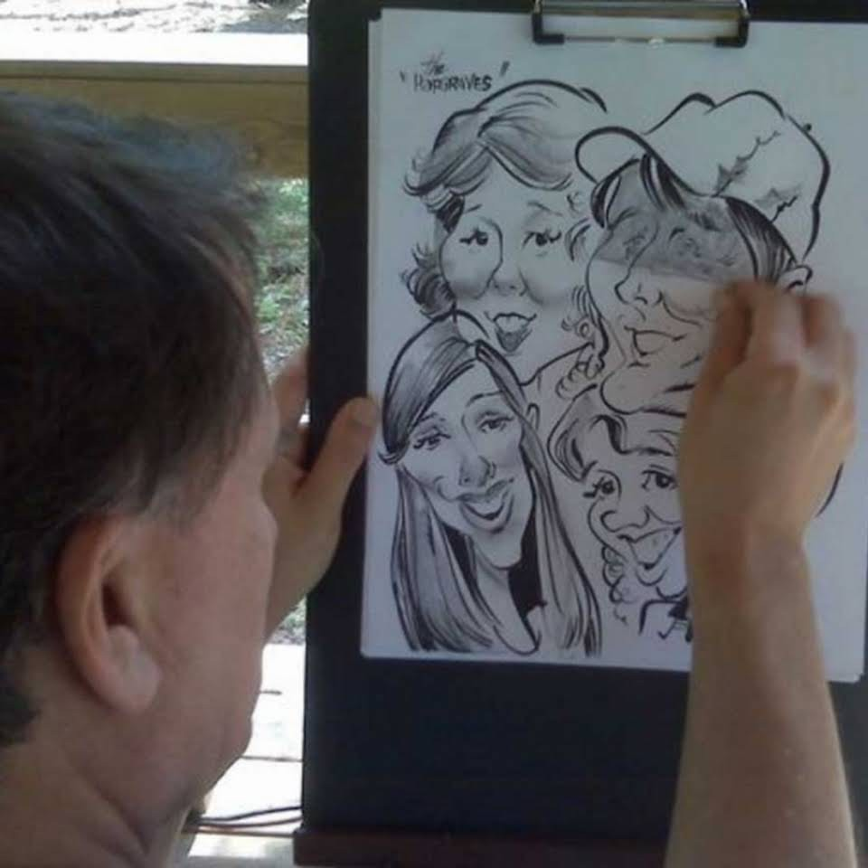 Professional Caricature artist live Drawaing at party event Houston Tx by Nick Polydoros