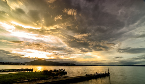 sunset lake rotorua nz new zealand sulfur point water mountain clouds outdoor landscape nature travelgram travelphotography sony sonyalpha a7m2 bbctravel natgeo lonely planet roadtrip holiday