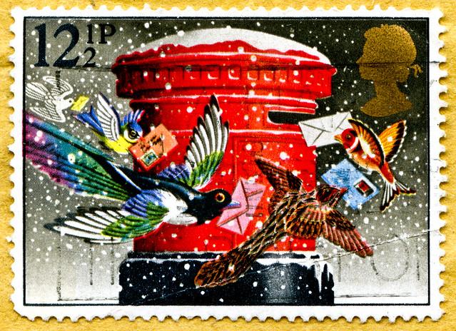 great xmas stamp 12.5 p Great Britain (christmas post, Weihnachtspost, après noël, kerstmis Wens, después de navidad, после рождества, 圣诞节后) United Kindom UK christmas Weihnachten noel Commonwealth timbre stamp english Jul Christmas Giáng sinh Božić Vánoc