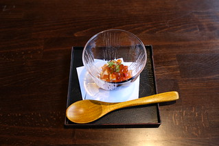 Salmon TarTar Don (Dice salmon, peppers, Japanese mountain yam, wasabi pickle, salmon roe over sushi rice) | by JFOODIE