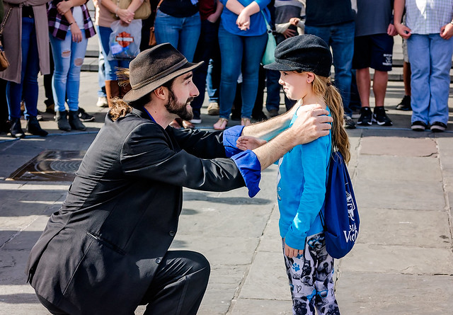 Magician performs in Jackson Square in New Orleans Louisiana