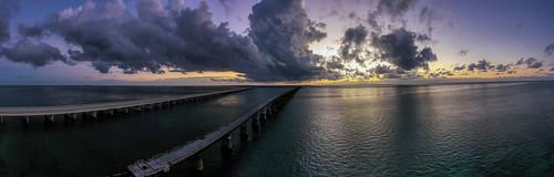 florida floridakeys southflorida overseashighway sevenmilebridge marathonflorida gulfofmexico atlanticocean mavicpro2 dji panoramic