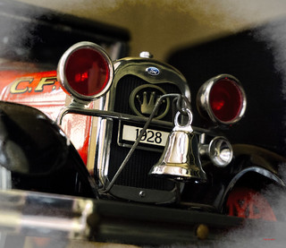 Desk Model of a 1928 Ford Model A Coupe Fire Chief's Car --- with Crown Firecoach Emblem on Radiator