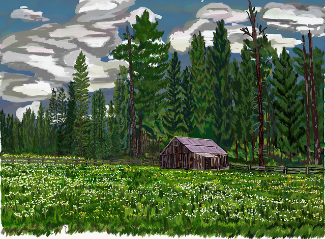 My Travel Paintings - Stanislaus National Forest Farmland