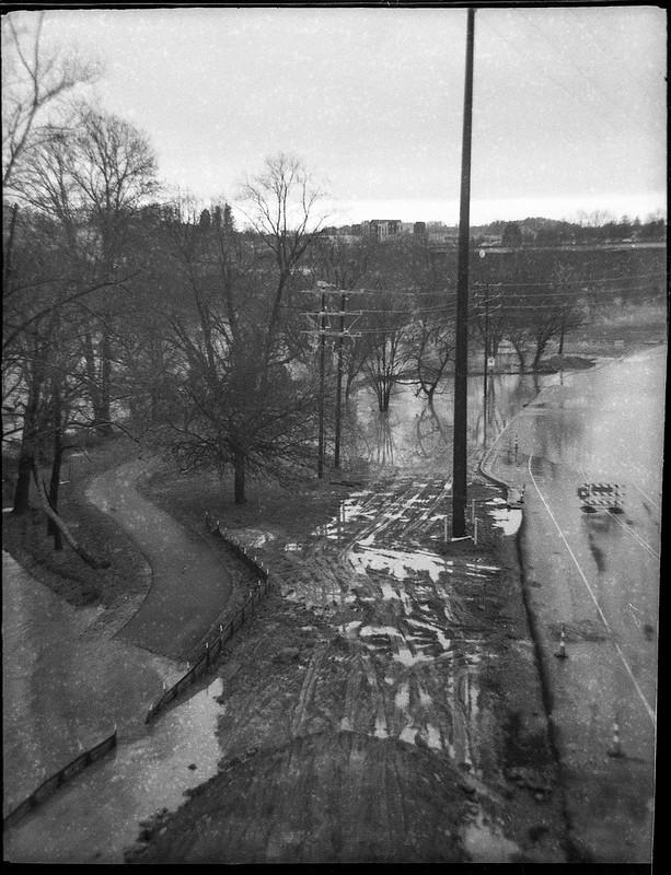 looking down, urban park, flooded, powerline, industrial district, French Broad River, Ashevile, North Carolina, Ferrania Tanit, Kodak TriX 400, Ilford Ilfosol 3 developer, 12.28.18