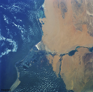 Skylab 3 Earth view of the Nile Delta, Egypt and Suez Canal. Original from NASA. Digitally enhanced by rawpixel.
