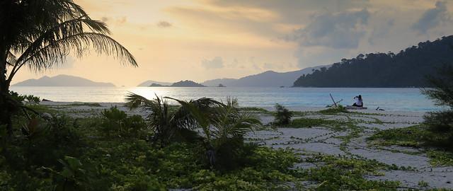 Samantha relaxing at sunset beach on Koh Lipe