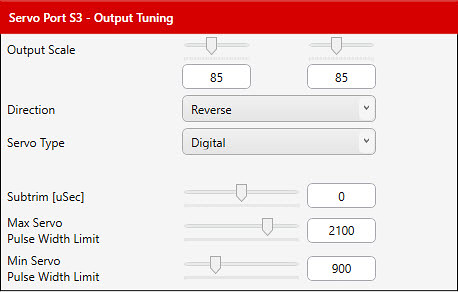041 - Output Tuning dialog, rudder, Servo Ports tab | by JD and Beastlet