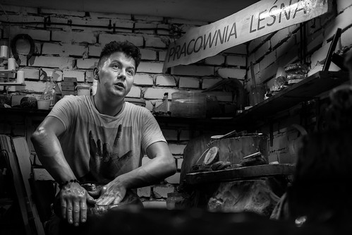 """Damian while working in his """"Forestry Studio"""". Poland. 