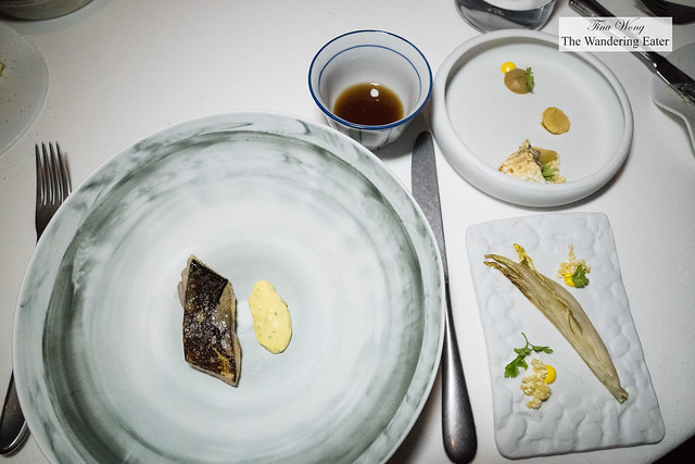 Ichiju-sansai inspired course - marinated mackerel with tartar sauce, glazed endive salad, marinated white beet root, cup of mackerel of dashi and sesame oil