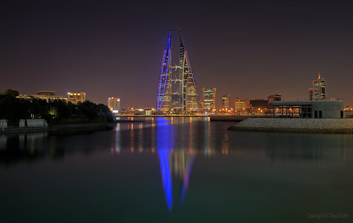 bahrain bay manama world trade centre city skyline night water reflections architecture modern pentax k1 2470mm f28 dxo photolab affinityphoto