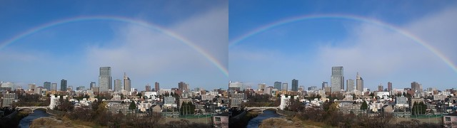 A rainbow over central of Sendai, 4K UHD, stereo parallel view
