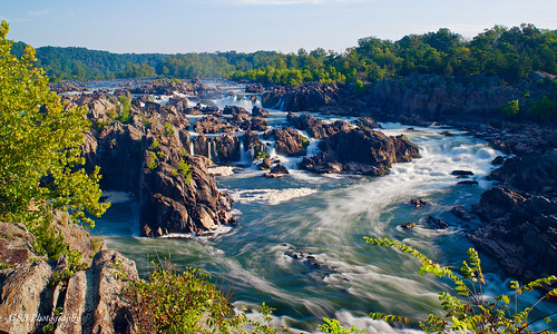 greatfalls potomacriver america usa river waterfall chute rapids sunlight water rush rocks trees foliage sky clouds flow vista overlook nikon d5300 virginia longexposure elitegalleryaoi bestcapturesaoi gsb