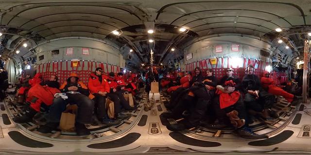 Inside a C130 Hercules in Antarctica