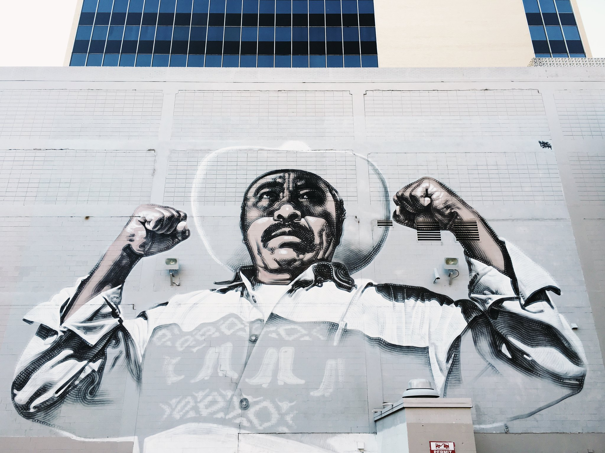 Mural of vaquero showing strength