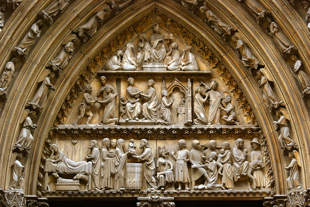 Paris, cathedral (Notre-Dame), north transept portal, tympanum with the infancy of Christ (lintel) and the story of Theophilus (c. 1250).