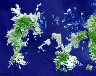 The Indonesian islands of Komodo, Rintja, Padar, and Flores in the Komodo National Park. Original from NASA. Digitally enhanced by rawpixel.