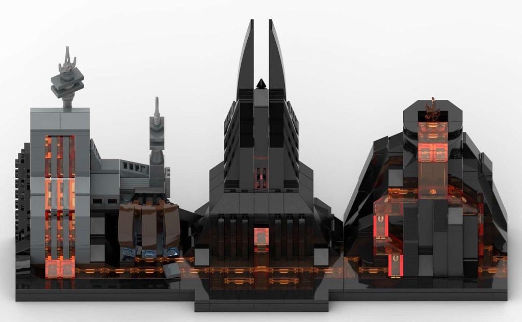 Lego Star Wars Mustafar Skyline Moc Top View Render Fr Flickr