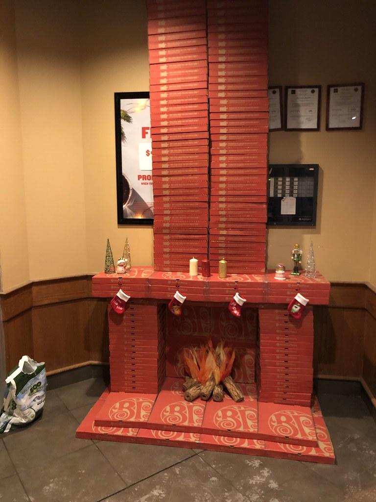 Pizza box fake fireplace at Boston Pizza | Jason Woodhead