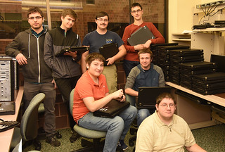 Thu, 10/25/2018 - 14:04 - GCC's Computer Repair Club members: (back row, left to right) David Basara, Carter Neuman, Jared Wise and Zachery Falta, (seated left to right) Albert Cohen, Charles Borngraber and Andrew Mignano.