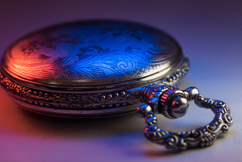 Blue and Red Pocket Watch