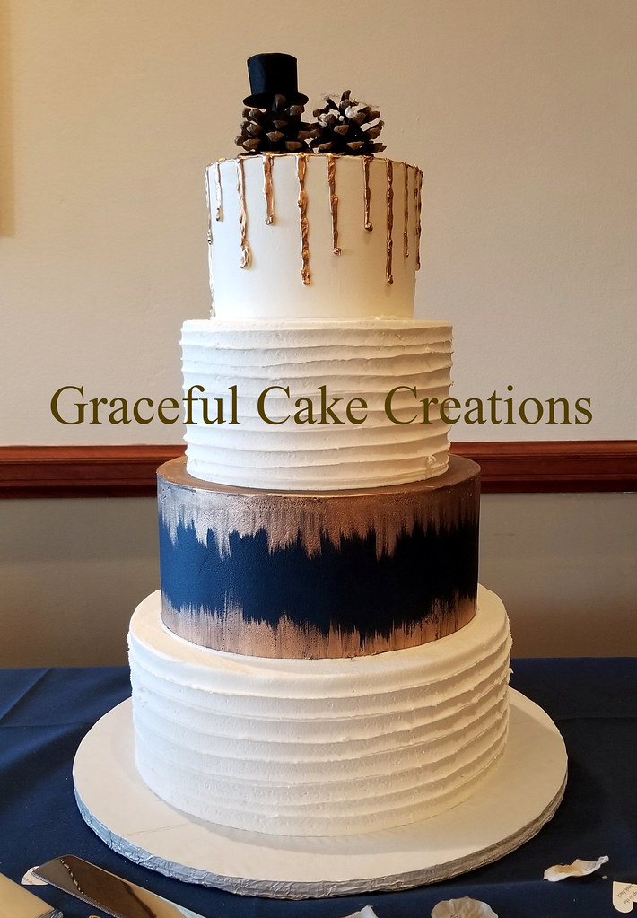 Rustic Butter Cream Wedding Cake In White Navy Blue And R Flickr
