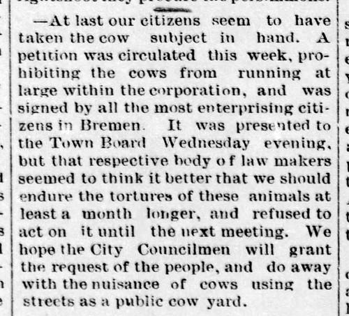 1889 - cows still a menace - Enquirer - 9 Feb 1889 | by historic.bremen