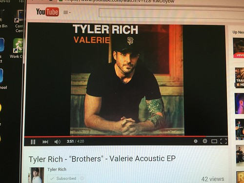"day195: listening to @TylerRichMusic's song ""Brothers"" on YouTube 