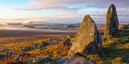 brownwilly roughtor tor cornwall bodmin moor camelford landscape mist morning standingstones