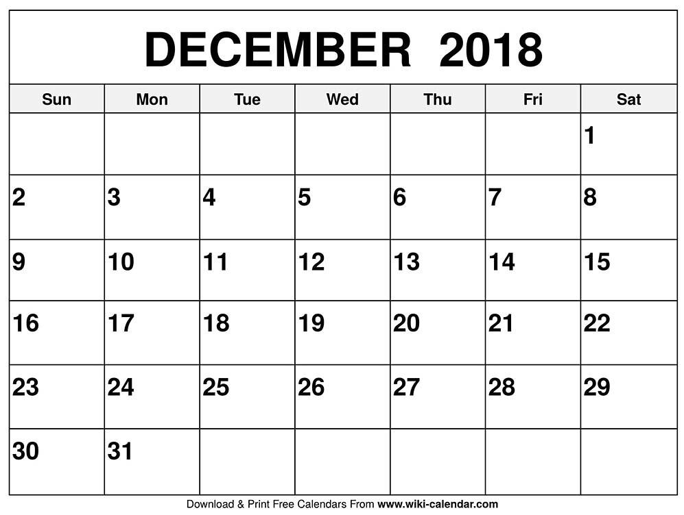 image regarding Printable Dec Calendar identified as Printable December 2018 Calendar Printable December 2018 C
