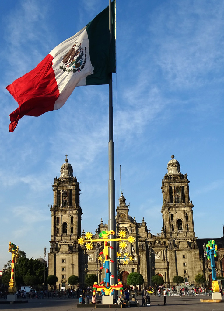 Cathedral With Flag Zocalo Central Plaza Mexico City