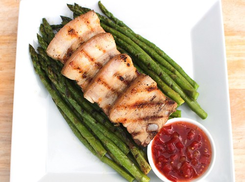 Grilled Pork Belly & Green Asparagus | by www.ChefsOpinion.org