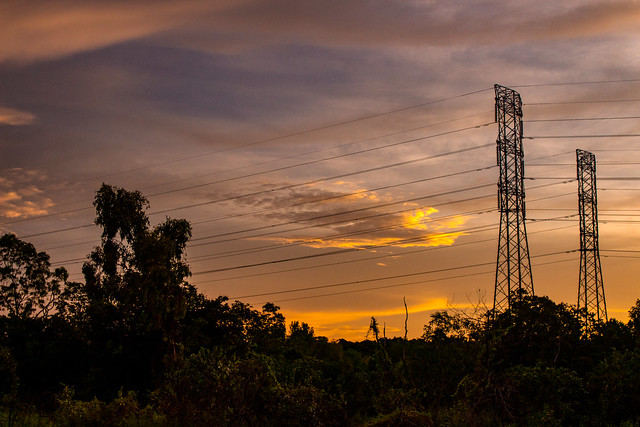 Sunset And Powerlines