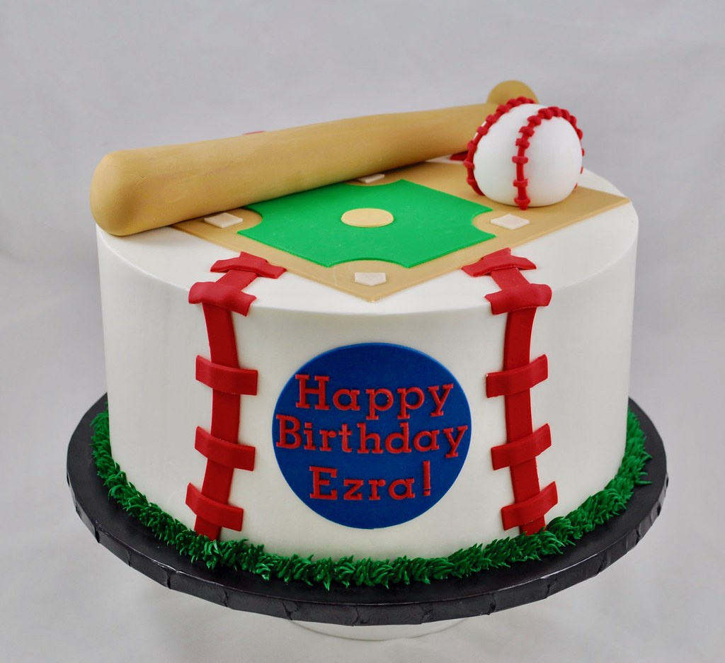 Excellent Baseball Birthday Cake Jenny Wenny Flickr Funny Birthday Cards Online Fluifree Goldxyz